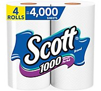 Scott Bathroom Tissue 1-Ply Unscented Wrapper - 4 Roll