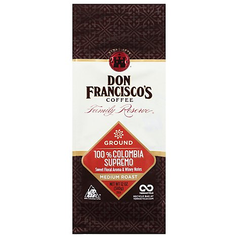 Don Franciscos Coffee Family Reserve Coffee Ground Medium Roast Colombia Supremo - 12 Oz