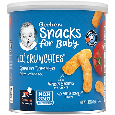 Gerber Graduates Lil Crunchies Corn Snack Baked Whole Grain Garden Tomato - 1.48 Oz