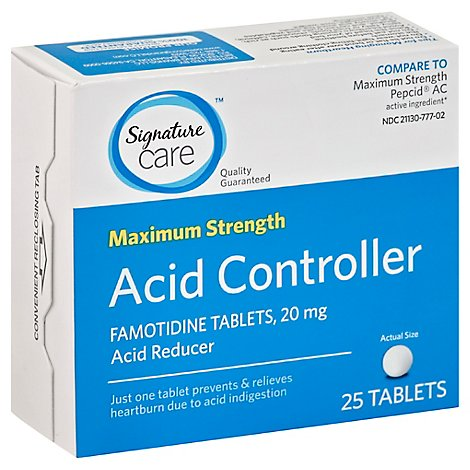Signature Care Famotidine Acid Reducer Tablets - 25 Count