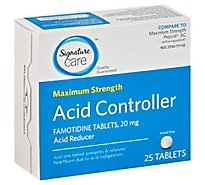 Signature Care Acid Controller Acid Reducer Famotidine 20mg Maximum Strength Tablet - 25 Count