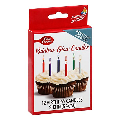 Betty Crocker Candles Rainbow Glow - 12 Count