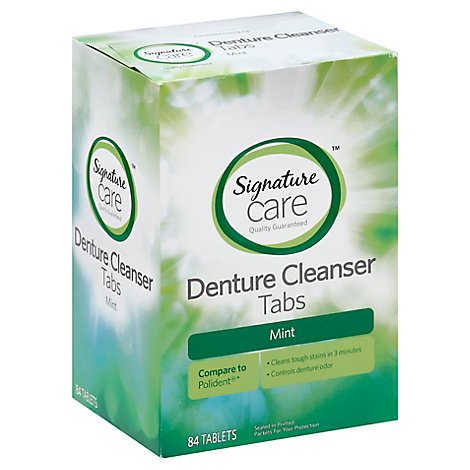 Signature Care Denture Cleanser Tabs Mint - 84 Count