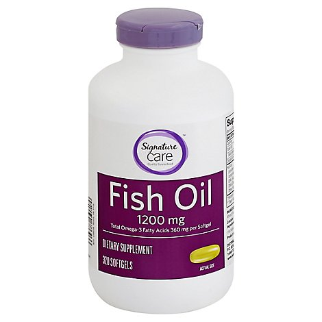 Signature Care Fish Oil 1200mg Omega 3 360mg Dietary Supplement Softgel - 320 Count