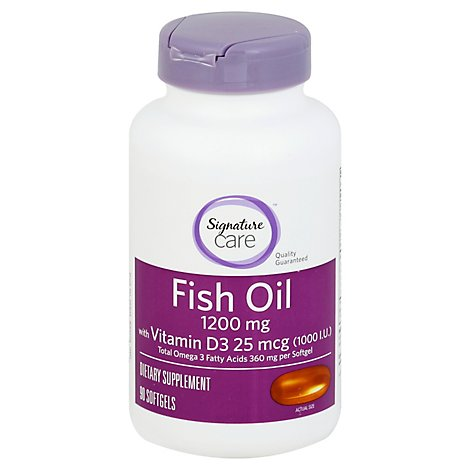 Signature Care Fish Oil 1200mg Omega 3 360mg Dietary Supplement Softgel - 90 Count
