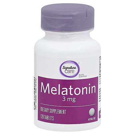 Signature Care Melatonin 3mg Dietary Supplement Tablet - 120 Count