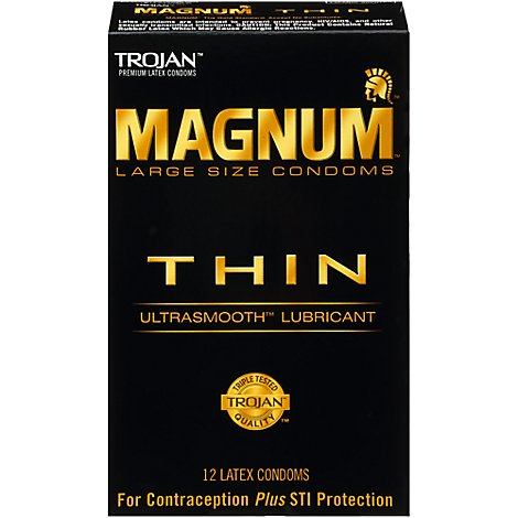 Trojan Magnum Thin Lubricated Condoms - 12 Count