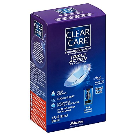 Clear Care Cleaning & Disinfecting Solution Triple Action Cleaning Travel Pack - 3 Fl. Oz.