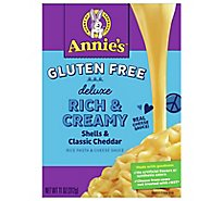 Annies Homegrown Pasta Rice & Cheese Sauce Gluten Free Creamy Deluxe Cheesy Cheddar Box - 11 Oz