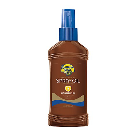 Banana Boat Deep Tanning Spray Oil Sunscreen Spray Clear Broad Spectrum SPF 4 - 8 Oz