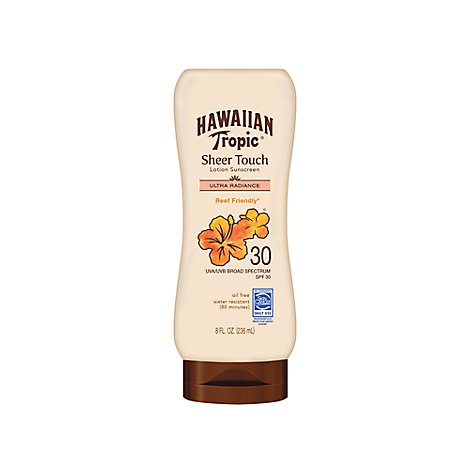 Hawaiian Tropic Sheer Touch Sunscreen Lotion Ultra Radiance Broad Spectrum SPF 30 - 8 Fl. Oz.