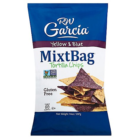 RW Garcia MixtBag Tortilla Chips Yellow & Blue Corn - 14 Oz