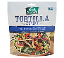 Fresh Gourmet Crunchy Toppings Tortilla Strips Tri-Color - 3.5 Oz