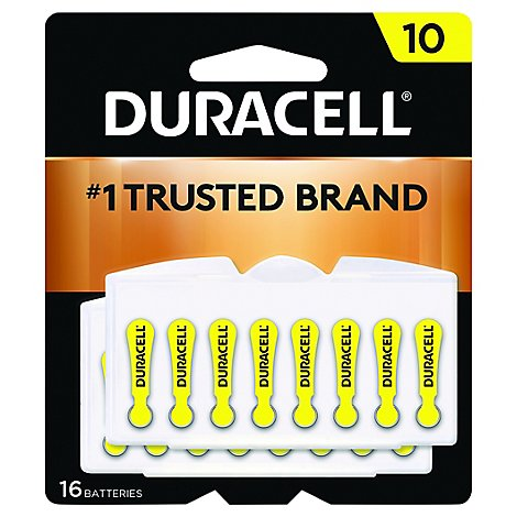 Duracell Battery Hearing Aid Size 10 Yellow - 16 Count