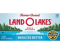 Land O Lakes Butter Sticks Unsalted California Milk 4 Count - 1 Lb
