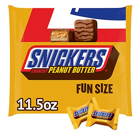 Snickers Chocolate Candy Crunchy Peanut Butter Bar Fun Size Bag - 11.5 Oz