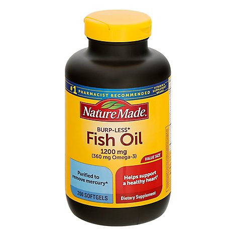 Nature Made Fish Oil Liquid Softgels 1200 mg Burp-Less - 200 Count