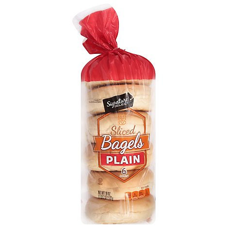 Signature SELECT Bagels Sliced Plain 6 Count - 18 Oz