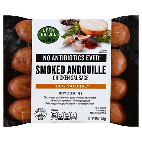 Open Nature Sausage Chicken Smoked Andouille - 12 Oz