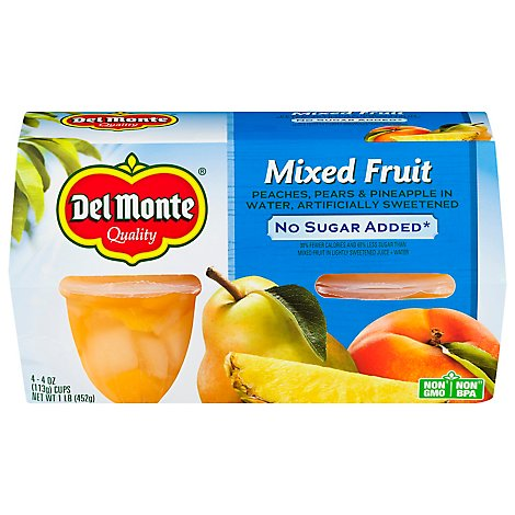 Del Monte Mixed Fruit No Sugar Added Cups - 4-4 Oz