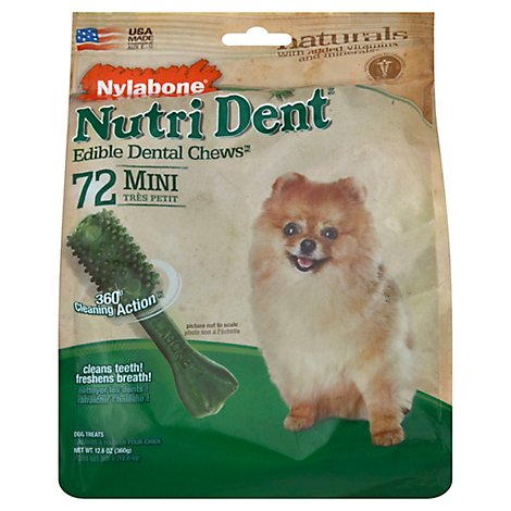 Nylabone Nutri Dent Dog Treat Dental Chews Mini Bag 72 Count - 12.6 Oz
