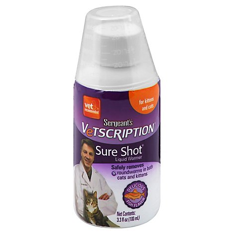 Sergeants Vetscription Liquid Wormer Removes For Cats Bottle - 3.3 Fl. Oz.