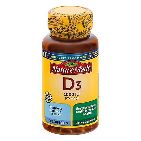 Nature Made Vitamin D Supplement Liquid Softgels D3 1000 IU - 100 Count