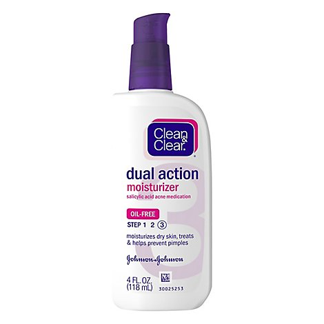 Clean & Clear Moisturizer Dual Action Oil Free - 4 Fl. Oz.