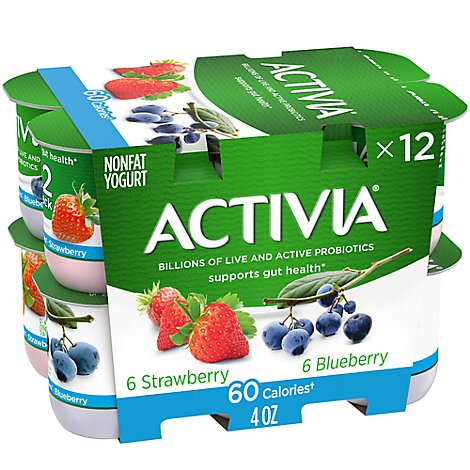 Activia Probiotic Yogurt Light With Bifidus Strawberry & Blueberry - 12-4 Oz