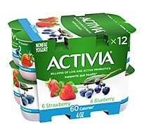 Activia Probiotic Yogurt Nonfat 60 Calories Strawberry & Blueberry Variety Pack - 12-4 Oz