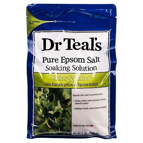 Dr Teals Soaking Solution Epsom Salt Pure Relax & Relief With Eucalyptus & Spearmint - 3 Lb
