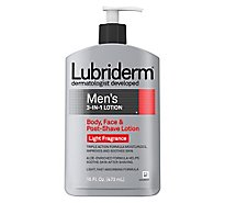 Lubiderm Lotion Mens 3-in1 Body Face & Post-Shave Light Fragrance - 16 Fl. Oz.