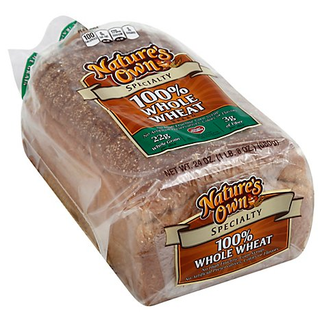 Natures Own 100% Whole Wheat Whole Grain Bread - 24 Oz