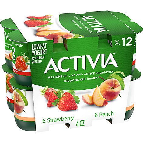 Activia Probiotic Yogurt Lowfat Strawberry & Peach Variety Pack - 12-4 Oz