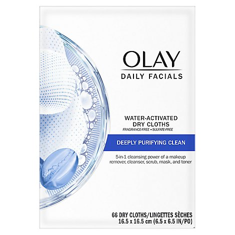 Olay Daily Facial Cloths Water Activated 5 in 1 Purifying Clean with Vitamin Complex - 66 Count