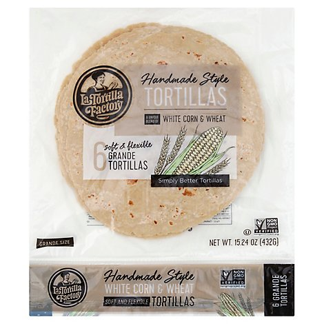 La Tortilla Factory Tortillas Corn White Grande Bag 6 Count - 15.24 Oz