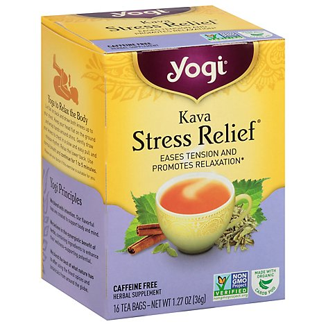 Yogi Herbal Supplement Tea Kava Stress Relief 16 Count - 1.27 Oz