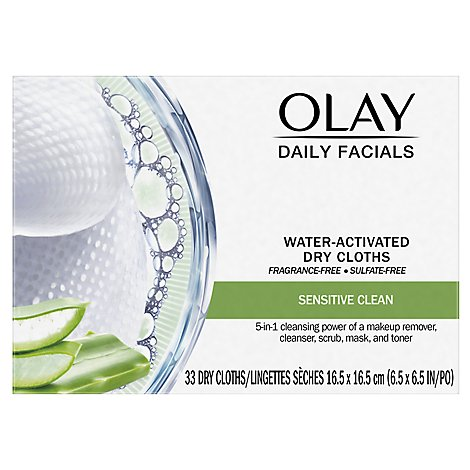 Olay Facial Cloths Daily 2-in-1 Sensitive - 33 Count