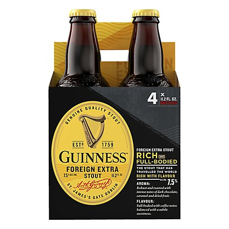 Guinness Beer Foreign Extra Stout Bottles - 4-11.2 Fl. Oz.