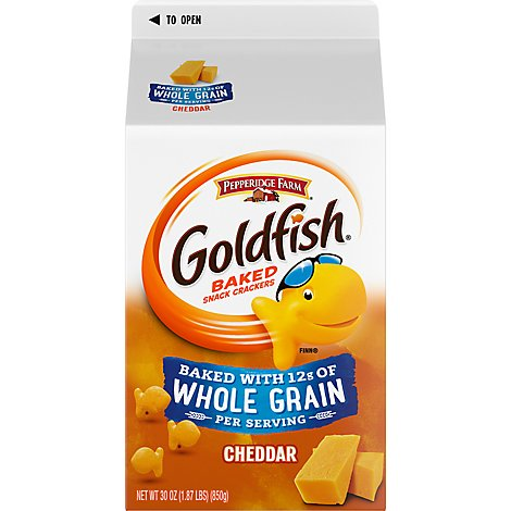 Pepperidge Farm Goldfish Crackers Baked Snack Whole Grain Cheddar Carton Bulk - 30 Oz