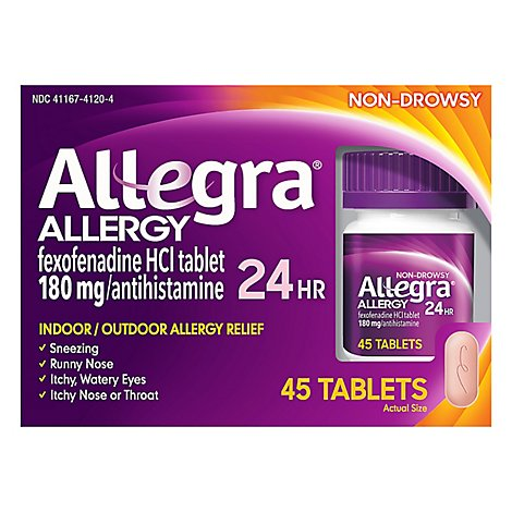 Allegra Allergy 24 Hour Non-Drowsy Tablets 180 mg - 45 Count
