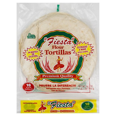 Fiesta Tortillas Flour No Lard Bag 10 Count - 16.7 Oz