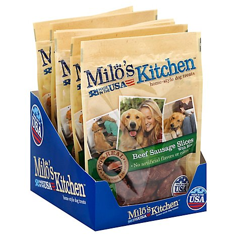 Milos Kitchen Dog Treats Home Style Beef Sausage Slices With Rice Pouch - 3 Oz