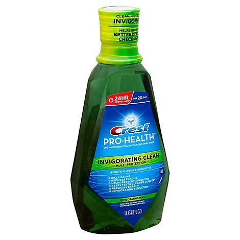 Crest Pro Health Mouthwash Multi-Protection Clean Mint with Alcohol - 33.8 Fl. Oz.