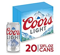 Coors Light Lager Beer Cans 4.2% ABV - 20-12 Fl. Oz.