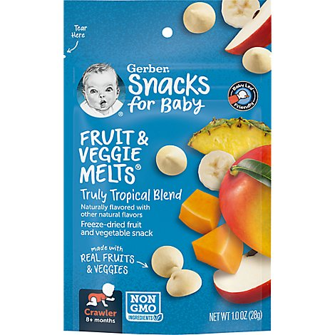 Gerber Graduates Fruit & Veggie Melts Freeze-Dried Truly Tropical Blend - 1 Oz