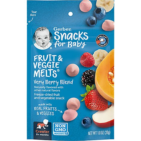 Gerber Graduates Fruit & Veggie Melts Freeze-Dried Very Berryl Blend - 1 Oz