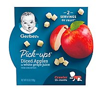 Gerber Pick-Ups Diced Apples in White Grape Juice Tray 4.5 Oz
