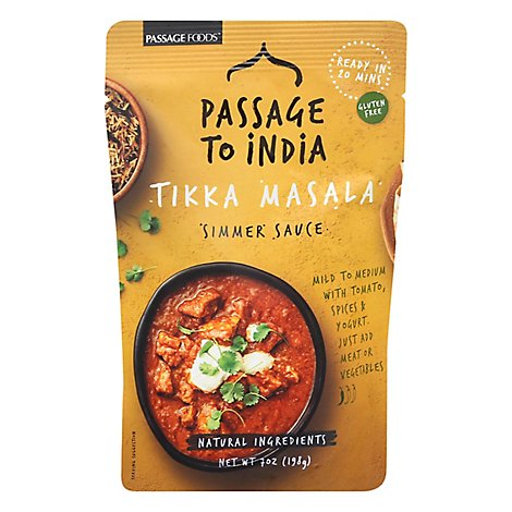 Passage Foods Simmer Sauce Passage to India Tikka Masala Mild Pouch - 7 Oz