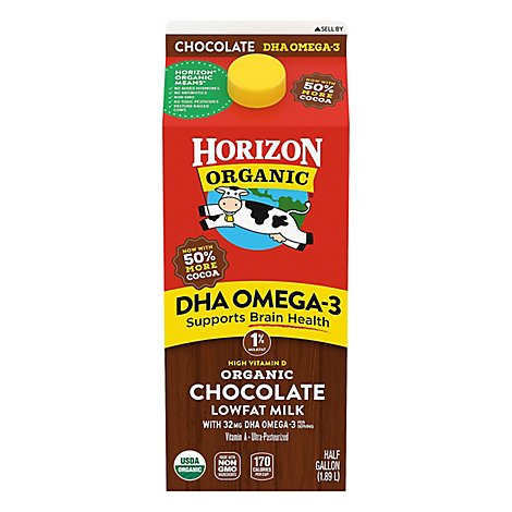 Horizon Organic Chocolate Milk Lowfat 1% DHA Omega-3 - Half Gallon